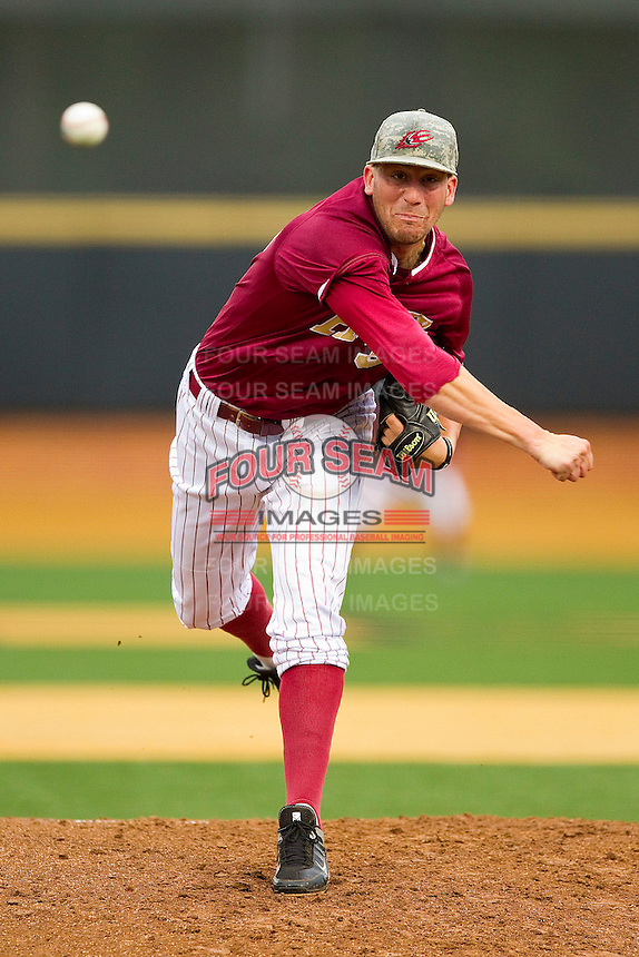 Elon Phoenix starting pitcher Jim Stokes #34 in action against the Wake Forest Demon Deacons at Wake Forest Baseball Park on May 1, 2012 in Winston-Salem, North Carolina.  The Demon Deacons defeated the Phoenix 7-5.  (Brian Westerholt/Four Seam Images)