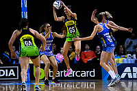 Ameliaranne Ekenasio takes a pass during the ANZ Premiership netball match between the Central Pulse and Northern Mystics at TSB Bank Arena in Wellington, New Zealand on Wednesday, 1 August 2018. Photo: Dave Lintott / lintottphoto.co.nz