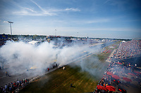 Sep 3, 2017; Clermont, IN, USA; Smoke fills the starting line area after a burnout by NHRA pro stock driver Deric Kramer during qualifying for the US Nationals at Lucas Oil Raceway. Mandatory Credit: Mark J. Rebilas-USA TODAY Sports