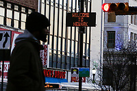 "NEWARK, NJ - JANUARY 18: A message that reads ""Welcome to Newark"" is seen on a display at downtown on January 18, 2018 in Newark, New Jersey. Amazon has released a shortlist for its much-anticipated second headquarters, with New York City and Newark, New Jersey, among the 20 locations that made the cut. (Photo by Eduardo MunozAlvarez/VIEWpress)"