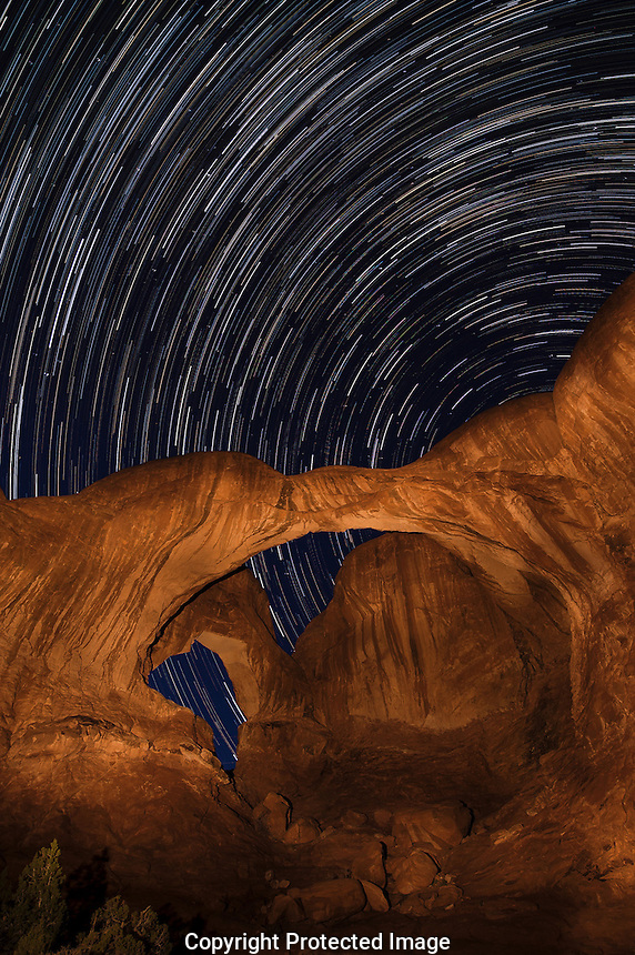 Star Trails  & Double Arch - Arches National Park, Utah