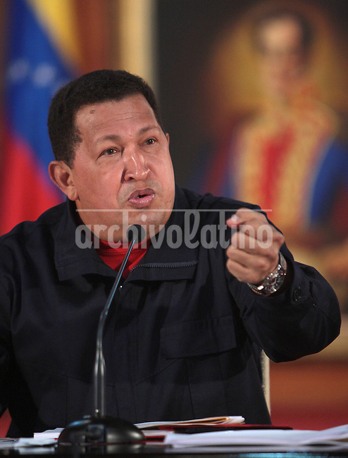President of Venezuela Hugo Chavez speaks during a press conference for the foreign media in Miraflores Palace, Caracas, to explain his project of Constitutional Reform that will allow him to be presidential candidate as many times as he likes. The reform is voted in a referedum February 15th 2009.