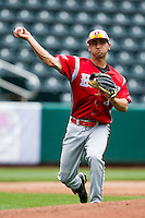 Rob Elliott (7) of the Bradley Braves throws a ball to first base during a game against the Missouri State Bears on May 13, 2011 at Hammons Field in Springfield, Missouri.  Photo By David Welker/Four Seam Images