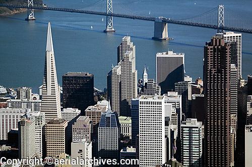 aerial photograph Transamerica pyramid, 555 California Street, Embarcadero Center skyscrapers San Francisco