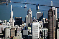 aerial photograph Transamerica pyramid, 555 California Street, Embarcadero Center skyscrapers San Francisco