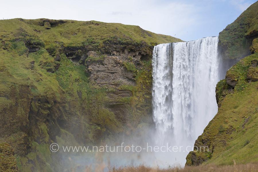 """Skógafoss, Skogafoss, """"Waldwasserfall"""", Wasserfall auf Island, Wasserfall des Flusses Skógá im Süden Islands, waterfall in the south of Iceland"""