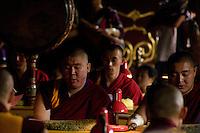 Les rangées de moines récitant dans la grand hall d'assemblée.