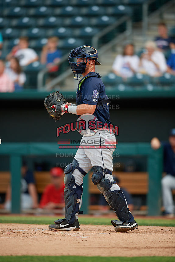 Mobile BayBears catcher Jack Kruger (10) during a Southern League game against the Jacksonville Jumbo Shrimp on May 28, 2019 at Baseball Grounds of Jacksonville in Jacksonville, Florida.  Mobile defeated Jacksonville 2-1.  (Mike Janes/Four Seam Images)