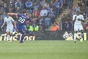 9th September 2017, King Power Stadium, Leicester, England; EPL Premier League Football, Leicester City versus Chelsea; Christian Fuchs of Leicester City takes a long range shot at the end of the first half