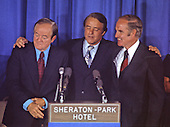 Democratic Vice Presidential nominee R. Sargeant Shriver, center, embraces United States Senator Hubert H. Humphrey (Democrat of Minnesota), left, and U.S. Senator George McGovern (Democrat of South Dakota), right, the 1972 Democratic Nominee for President, after Shriver's acceptance speech at the Democratic National Convention Special Session in Washington, D.C. on August 8, 1972.  Shriver takes the place of U.S. Senator Tom Eagleton (Democrat of Missouri) on the ticket..Credit: Arnie Sachs / CNP