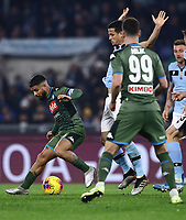 11th January 2020; Stadio Olympico, Rome, Italy; Serie A Football, Lazio versus Napoli; Lorenzo Insigne of Napoli controls the ball as he holds off a challenge - Editorial Use