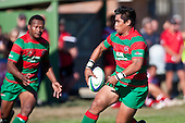 Notise Tauafoa gives a behind the back pass to Misi Tupou. Counties Manukau Premier Club Rugby game bewtween Waiuk & Karaka played at Waiuku on Saturday April 11th, 2010..Karaka won the game 24 - 22 after leading 21 - 9 at halftime.