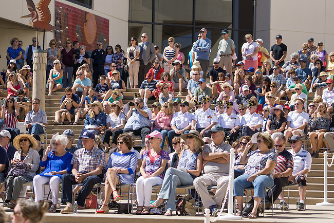 A large crowd was on hand to commemorate 9/11 and see the new memorial at the Huntington Beach city hall.<br /> <br /> ///ADDITIONAL INFORMATION: hb.0915.memorial – 9/11/16 – MICHAEL KITADA, ORANGE COUNTY REGISTER - _DSC9389.jpg - <br /> Summary: The Huntington Beach Police Officers' Foundation's 9-11 Memorial Committee unveils a $200,000 monument including steel from the toppled World Trade Center, at City Hall. The event will include music, a flyover, New York police and others with connections to the 9-11 rescue and victims of the tragedy.