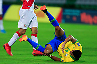 ARMENIA, COLOMBIA - JANUARY 19: Brazil's Reinier falls down during his CONMEBOL Pre-Olympic soccer game against Peru at Centenario Stadium on January 19, 2020 in Armenia, Colombia. (Photo by Daniel Munoz/VIEW press/Getty Images)