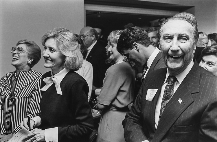 Sen. Kay Bailey Hutchison, R-Tex., and Sen. James Strom Thurmond, R-S.C., at the event honoring Sen. Hutchison and renew at the Capitol Hill Club, they are listening to Bob Dole, on July 14, 1993. (Photo by Chris Martin/CQ Roll Call via Getty Images)