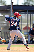 Washington Nationals minor league outfielder Bryce Harper #34 at bat during a spring training game against the Baltimore Orioles at the Spacecoast Stadium Training Complex on March 27, 2011 in Melbourne, Florida.  Photo By Mike Janes/Four Seam Images