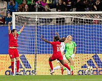 GRENOBLE, FRANCE - JUNE 15: Nichelle Prince #15 of the Canadian National Team celebrates goal with Christine Sinclair #12 of the Canadian National Team, after Christine Sinclair #12 of the Canadian National Team header rebounded off the post during a game between New Zealand and Canada at Stade des Alpes on June 15, 2019 in Grenoble, France.