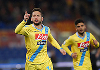 Calcio, semifinale di andata di Coppa Italia: Roma vs Napoli. Roma, stadio Olimpico, 5 febbraio 2014.<br /> Napoli forward Dries Mertens, of Belgium, celebrates after scoring during the Italian Cup first leg semifinal football match between AS Roma and Napoli at Rome's Olympic stadium, 5 February 2014. AS Roma won 3-2.<br /> UPDATE IMAGES PRESS/Riccardo De Luca