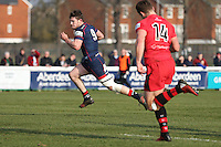 Jamie Stevenson of London Scottish breaks free during the Greene King IPA Championship match between London Scottish Football Club and Jersey at Richmond Athletic Ground, Richmond, United Kingdom on 18 February 2017. Photo by David Horn / PRiME Media Images.