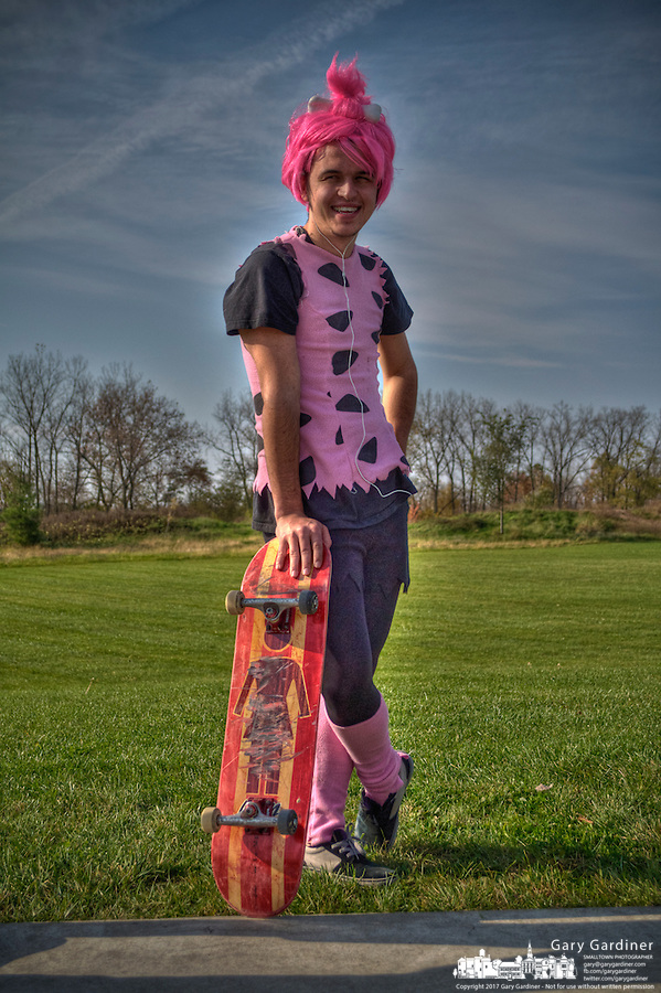 Man pink costume at Halloween skateboarding event at Westerville Skate Park.  sc 1 st  SmallTown Stock - PhotoShelter & skateboard-halloween-costume-2011-10-30-00166_tm.jpg | SmallTown Stock