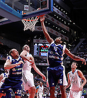 Real Madrid's Mirza Begic (l) and Nikola Mirotic (r) and Mapooro Cantu's Marco Cusin (l) and Jeff Brooks (c-r) during Euroleague 2012/2013 match.November 1,2012. (ALTERPHOTOS/Acero) /NortePhoto