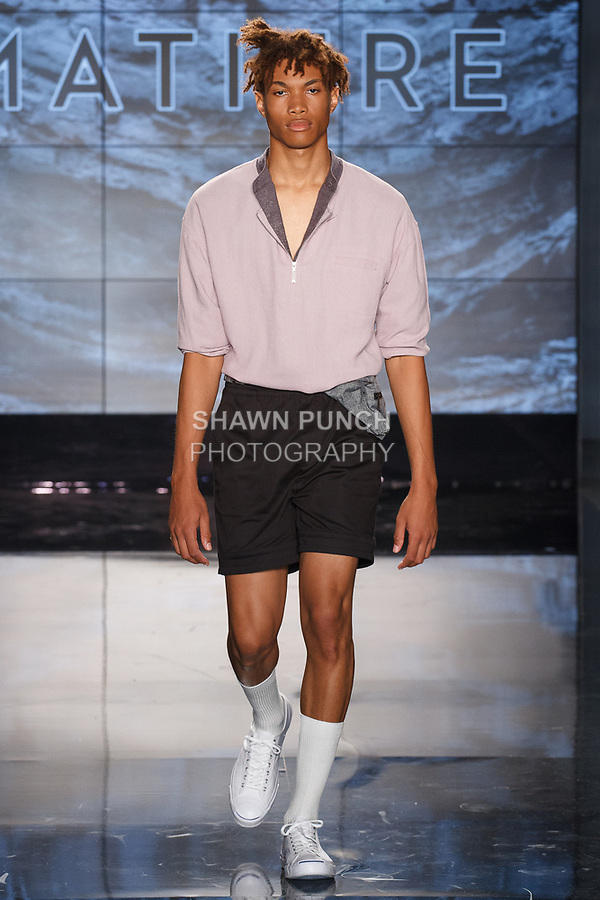 "Model walks runway in an outfit from the Matiere Spring Summer 2018 ""Reflections"" collection by Henry Choi and Scot Shandalove, at Cadillac House on 330 Hudson Street on July 12, 2017; during New York Fashion Week: Men's Spring Summer 2018."