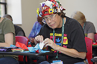 OrigamiUSA 2016 Convention at St. John's University, Queens, New York, USA. Susan Dugan, South Carolina in a class taught by Scott Cramer, Rock Crystal.