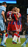 Xabi Alonso of Bayern Munich (c) celebrates his goal  - UEFA Champions League group E - Manchester City vs Bayern Munich - Etihad Stadium - Manchester - England - 25rd November 2014  - Picture Simon Bellis/Sportimage