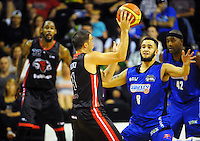 Action from the national basketball league match between Wellington Saints and Canterbury Rams at TSB Bank Arena, Wellington, New Zealand on Monday, 6 April 2015. Photo: Dave Lintott / lintottphoto.co.nz