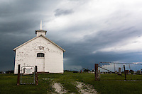 Old church & cemetery w/ thunderstorm in Benton, MO