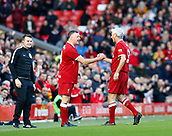 24th March 2018, Anfield, Liverpool, England; LFC Foundation Legends Charity Match 2018, Liverpool Legends versus FC Bayern Legends; Liverpool Legends player-manager Ian Rush takes himself off to allow John Aldridge of Liverpool Legends to replace him