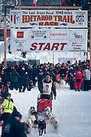 Musher # 9 Blake Matray at the Restart of the 2009 Iditarod in Willow Alaska