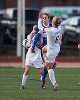 In a National Women's Soccer League Elite (NWSL) match, the Boston Breakers and  Washington Spirit drew 1-1, at the Dilboy Stadium on April 14, 2012.  Boston Breakers midfielder Heather O'Reilly (9) and Washington Spirit midfielder Lori Lindsey (6) compete for a high ball.