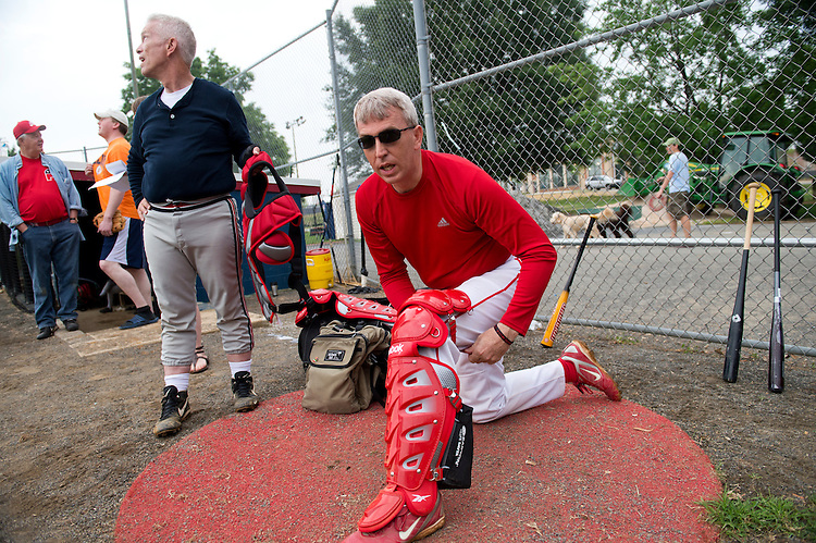 UNITED STATES - JUNE 1:  Rep. Todd Platts, R-Pa., right, and Bill Johnson, R-Ohio, participate in republican baseball practice at Simpson Stadium in Alexandria, Va.  (Photo By Tom Williams/CQ Roll Call)
