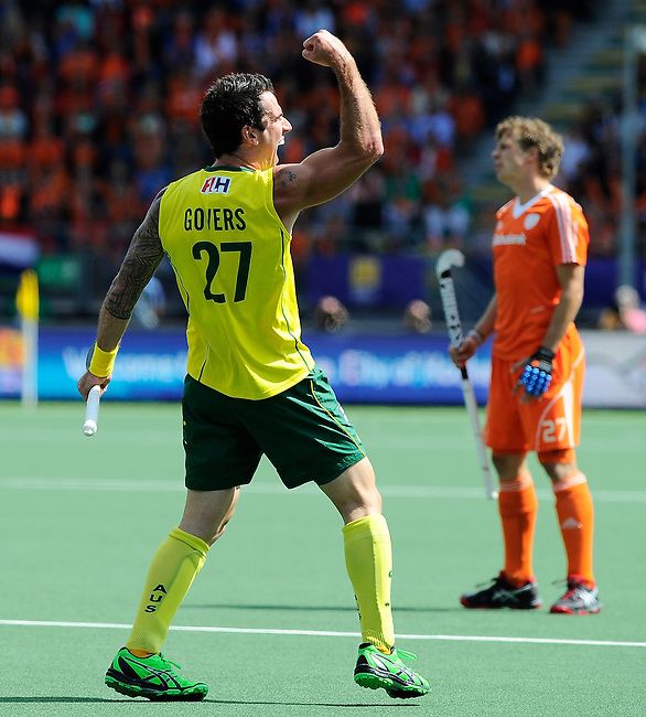The Hague, Netherlands, June 15: Kieran Govers #27 of Australia celebrates after scoring a field goal to give the Kookaburras a 2-1 lead during the field hockey gold match (Men) between Australia and The Netherlands on June 15, 2014 during the World Cup 2014 at Kyocera Stadium in The Hague, Netherlands. Final score 6-1 (2-1)  (Photo by Dirk Markgraf / www.265-images.com) *** Local caption ***