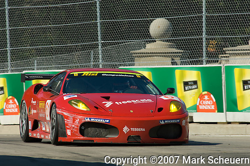1 September 2007: The Risi Competizione Ferrari F430 GT driven by Eric Helary and Gianmaria Bruni at the Detroit Sports Car Challenge presented by Bosch, Detroit, MI