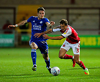Fleetwood Town's Eddie Clarke battles with Leicester City U21s' Ryan Loft<br /> <br /> Photographer Alex Dodd/CameraSport<br /> <br /> The EFL Checkatrade Trophy - Northern Group B - Fleetwood Town v Leicester City U21 - Tuesday September 11th 2018 - Highbury Stadium - Fleetwood<br />  <br /> World Copyright &copy; 2018 CameraSport. All rights reserved. 43 Linden Ave. Countesthorpe. Leicester. England. LE8 5PG - Tel: +44 (0) 116 277 4147 - admin@camerasport.com - www.camerasport.com