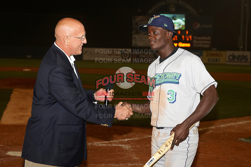 Jamestown Jammers outfielder Juancito Martinez #3 is awarded the Most Valuable Player by league president Ben Hayes after the NY-Penn League All-Star Game at Eastwood Field on August 14, 2012 in Niles, Ohio.  National League defeated the American League 8-1.  (Mike Janes/Four Seam Images)