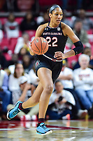 College Park, MD - NOV 13, 2017: South Carolina Gamecocks forward A'ja Wilson (22) dribbles the ball up court during match up between No. 4 ranked South Carolina and the No. 15 Maryland Terrapins at the XFINITY Center in College Park, MD. The Gamecocks defeated Maryland 94-86.  (Photo by Phil Peters/Media Images International)