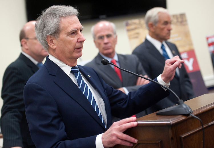 "UNITED STATES - SEPTEMBER 20: Rep. Walter Jones, R-N.C.; Rep. Peter Welch, D-Vt.; and Rep. Ron Paul, R-Tex., speak at a news conference calling for expedited withdrawal of U.S. troops from Afghanistan and stop ""the wasteful spending."" (Photo by Chris Maddaloni/CQ Roll Call)"