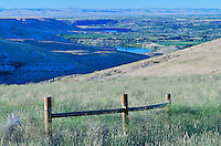 View of Hagerman Fossil Beds National Monument bluffs, Hagerman, and Snake River from near an Oregon Trail Viewpoint, Hagerman, Idaho.