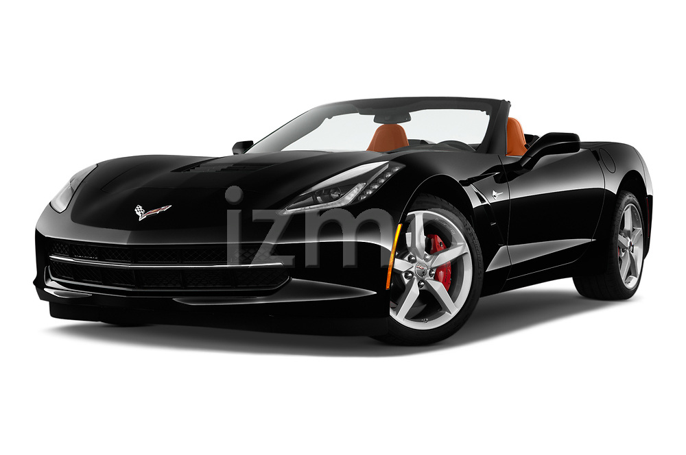 Stock pictures of low aggressive front three quarter view of a 2018 Chevrolet Corvette Stingray Convertible 2LT 2 Door Convertible