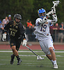 Jack Leghart #19 of Kellenberg snaps off a shot during the CHSAA varsity boys lacrosse Class AA Intersectional Final against Iona Prep at Kellenberg High School on Friday, May 26, 2017. Kellenberg won by a score of 11-9.