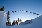 Event winner Nick Poohachoff in this composite sequence image at the Nike Chosen snowboard competition at Heavenly Valley in South Lake Tahoe. Photo by Scott Sady - Novus Select