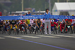 Wheelchair athletes start the marathon from Tianamen Square, Beijing, with Asutralia's Kurt Fearnley leading from the gun.