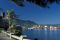 "AJ2296, Dominican Republic, Puerto Plata, Caribbean, Scenic view of Puerto Plata """"silver port"""" Harbor along the Atlantic Ocean in Dominican Republic."