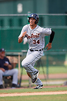 Detroit Tigers Danny Pinero (34) running the bases during an Instructional League game against the Atlanta Braves on October 10, 2017 at the ESPN Wide World of Sports Complex in Orlando, Florida.  (Mike Janes/Four Seam Images)