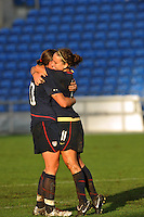 Abby Wambach (left) and Lauren Cheney (right) celebrate Cheney's game winning goal.  The USA captured the 2010 Algarve Cup title by defeating Germany 3-2, at Estadio Algarve on March 3, 2010.