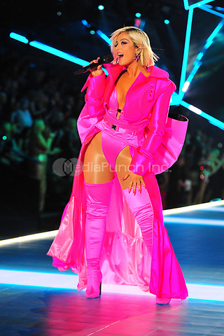 NEW YORK, NY - NOVEMBER 08: Bebe Rexha at the 2018 Victoria's Secret Fashion Show at Pier 94 on November 8, 2018 in New York City. Credit: John Palmer/MediaPunch