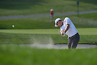 Bethesda, MD - June 29, 2014:   Justin Rose takes a shot from the bunker on the 16th hole during the Final Round of the Quicken Loans National at the Congressional Country Club in Bethesda, MD, June, 29, 2014. Rose won the tournament after a playoff with Shawn Stefani.  (Photo by Don Baxter/Media Images International)